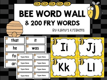 Bee Word Wall & 200 Fry Words -Editable