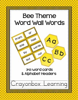 Bee Word Wall Cards and Headers