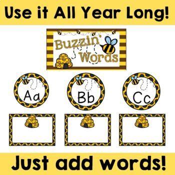 Bee Theme: Word Wall (Editable)