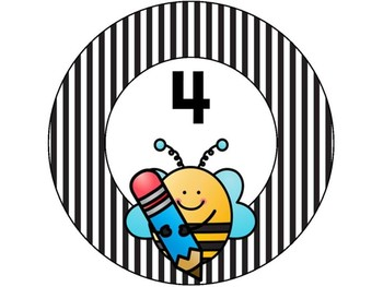 Bee Word Wall Letters & Table Numbers 1-8