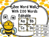 Bee Word Wall With 200 Fry Words Editable