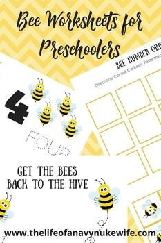 Bee Worksheet Set for Preschoolers