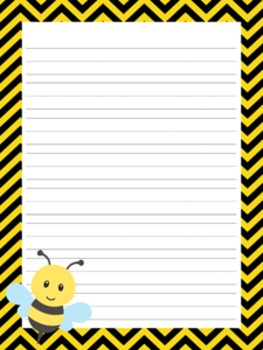Bee Writing Paper - 3 Styles - 4 Designs