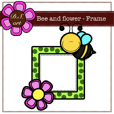 Bee and flower - FRAME Digital Clipart (color and black&white)