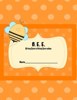 Bee teacher and student binder cover