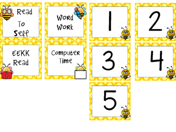 Bee theme Language Arts rotation schedule cards