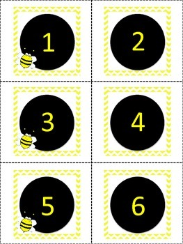 Bee theme labels: Numbers 1-100