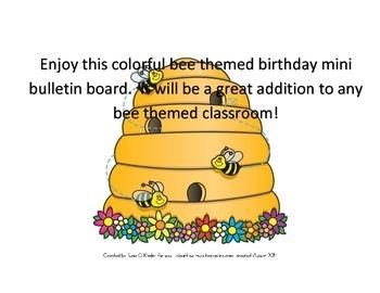 Bee theme mini birthday bulletin board.