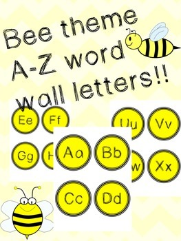 Bee theme word wall cards/flash cards A-Z
