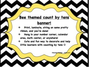 "Bee themed ""Count by tens"" banner!"