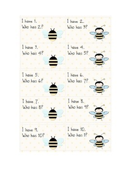 Bee-themed I have/who has 1-10 counting game