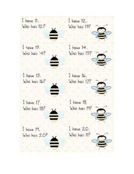 Bee-themed I have/who has 11-20 counting game