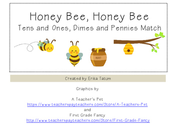 Bee themed matching tens and ones with dimes and pennies