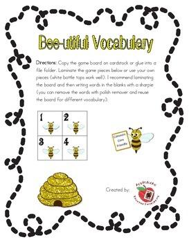 Bee-utiful Vocabulary game board