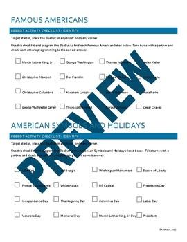 BeeBot Activity Mats - Famous Americans, Patriotic Symbols, Holidays