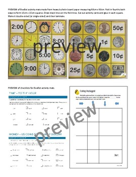 BeeBot Activity Mats - Time and Money