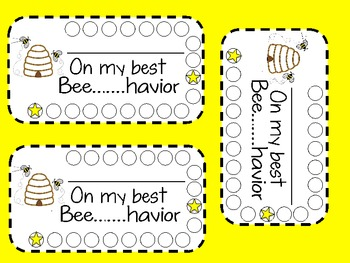 Bee.....Havior Behavior Motivation Punch Cards Classroom Management Tool