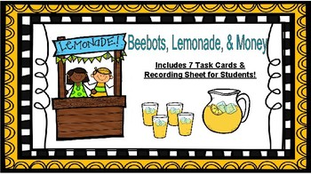 Beebots, Lemonade, & Money Addition and Subtraction Task Cards