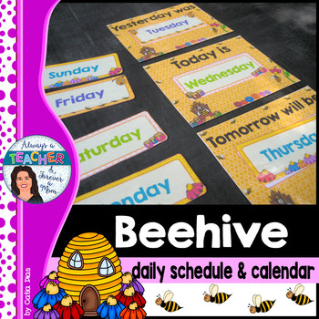Beehive Classroom Decor Theme - Daily Schedule and Calendar with EDITABLE pages
