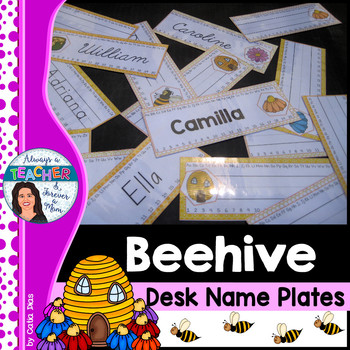 Beehive Classroom Decor Theme - Desk Plates with EDITABLE pages