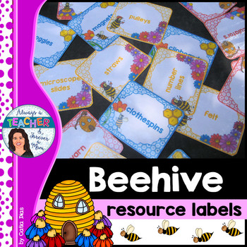 Beehive Classroom Decor Theme - Resource Labels with EDITABLE pages