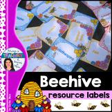 Beehive Classroom Decor Theme - Resource Labels with EDITA