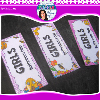 Beehive Classroom Theme - Bathroom & Hall Passes with EDITABLE pages