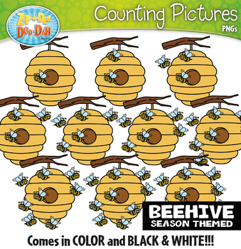 Beehive Counting Pictures Clipart {Zip-A-Dee-Doo-Dah Designs}