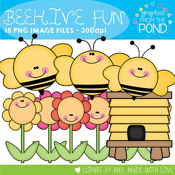 Beehive Fun Clipart {Bees, Flowers & Beehive}