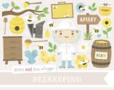 Beekeeping Clipart; Honey, Bee, Beehive, Honeycomb, Bumble Bee, Barrel