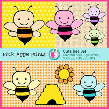 Colorful Bee Clipart Set