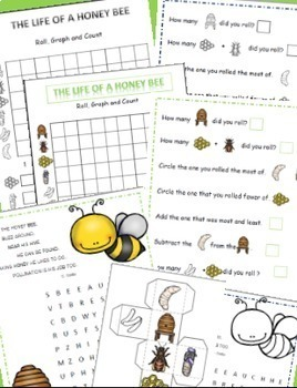 Bees Life Cycle Math Literacy & Science - Bee Themed Activities Bundle