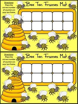 Bee Activities: Bee Ten Frames Spring-Summer Math Activity Packet Bundle