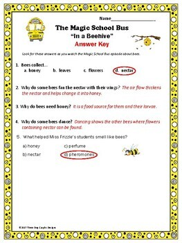 "Bees Adaptations Magic School Bus ""In a Beehive"" Video Response Worksheet"