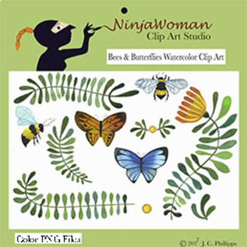 Bees & Butterflies Watercolor Clip Art