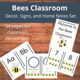 Bees Classroom-Decor, Signs, Home Notes, and More for Pres