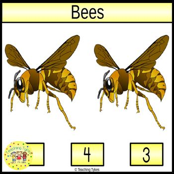 Bees Count and Clip Task Cards