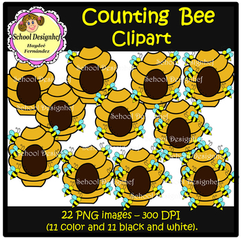 Counting Bees Cards - Numbers 0-10 (School Design)