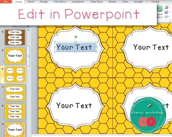 Bees Editable Labels