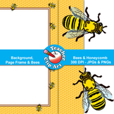 Bees & Honeycomb Clip Art — Backgrounds, Page Frames & Bees