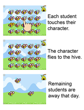 Bee Theme Interactive Attendance for All Whiteboards and Smartboards