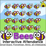 Bee Theme Interactive Attendance with Optional Lunch Count for All Whiteboards