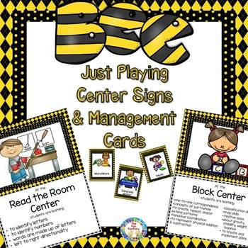 Bees –Just Playing Center Signs and Editable Management Cards