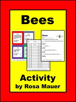 Bees Nature's Friends Task Cards