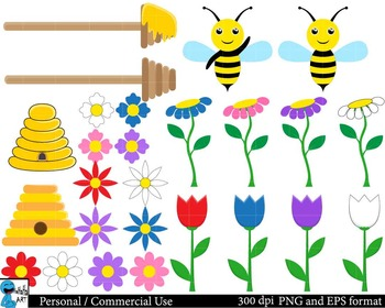 Bees Set Clipart Digital ClipArt Personal, Commercial Use 50 PNG images cod102