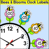 Flowers & Bees Theme Classroom Clock Labels & Telling Time Worksheets