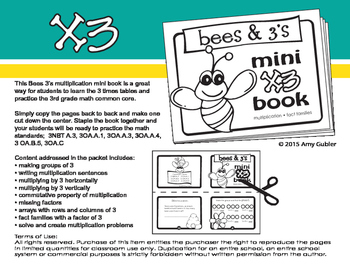 Bees and 3s - Multiply by 3 Mini Book