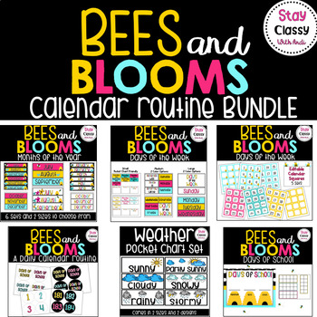 Calendar Routine BUNDLE (Bees and Blooms)