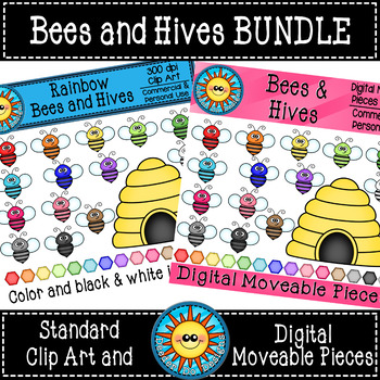 Bees and Hives Digital Moveable Pieces and Standard Clip ...
