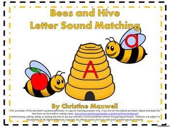 Bees and Hives Letter and Sound Matching for Spring & Summer Color or Blackline